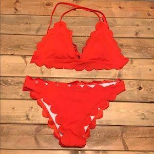Scalloped Bikini Size Large ( runs a little small)